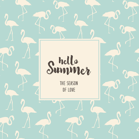 Hello summer text over blue flamingos. Tropical exotic seamless pattern with white flamingos birds over blue. Flamingo background design. Vector illustration. Ilustracja