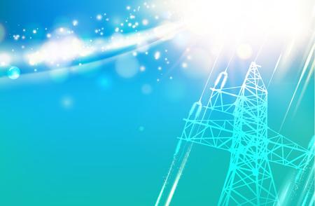 De toren van de stroomtransmissie. Elektrische transmissielijn van hoogspanning over hemel. Vector illustratie.