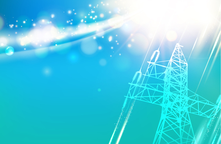Electric power transmission tower. Electrical Transmission Line of High Voltage Over Sky. Vector Illustration.