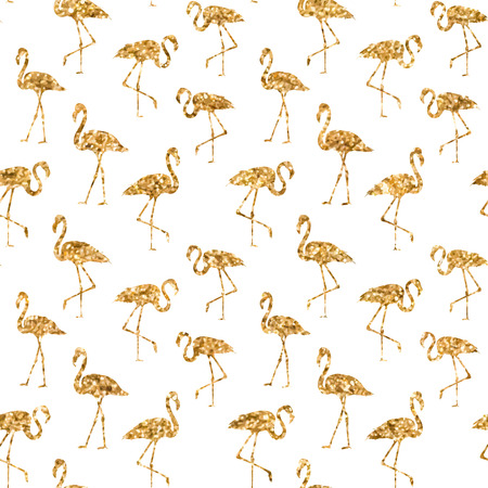 execution: Tropical exotic seamless pattern with golden flamingos birds in vector. Vector flamingo background design. Flamingo symbol of execution dreams. Modern abstract background with flamingo endless pattern. Vector illustration.