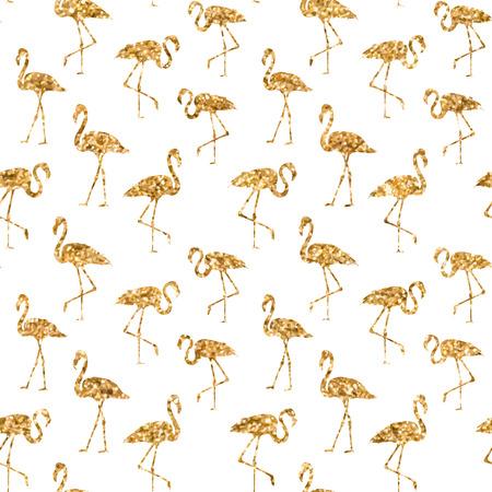 flamingos: Tropical exotic seamless pattern with golden flamingos birds in vector. Vector flamingo background design. Flamingo symbol of execution dreams. Modern abstract background with flamingo endless pattern. Vector illustration.