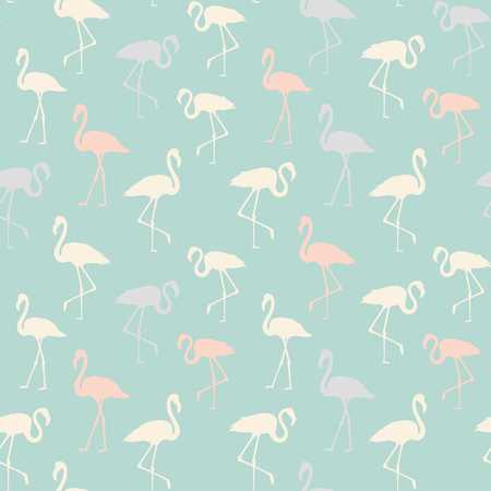Tropical exotic seamless pattern with elegant flamingos birds over blue. Flamingo background design. Flamingo symbol of execution dreams. Seamless background with flamingo pattern. Vector illustration.