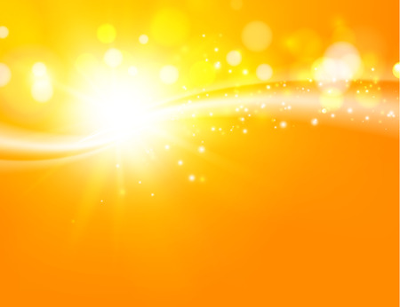 Yellow orange background. Gold swirl background. Orange abstract background of bend rays. Vector illystration.