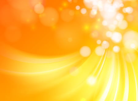 Abstract golden background with circle bokeh. Red orange background. Vector illustration.