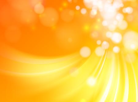 Abstrait or avec cercle bokeh. Fond orange rouge. Illustration vectorielle
