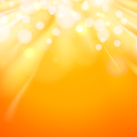 Red orange background. Abstract swirl background. Gold background abstract. Golden bokeh of shining dust flow downover orange backdrop. Vector illustration.