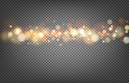 Soft bokeh and lights. Shiny sunburst of circle bokeh with the abstract sunshine light and transparency background. Abstract vector background. Gold template over black background with golden sparks.