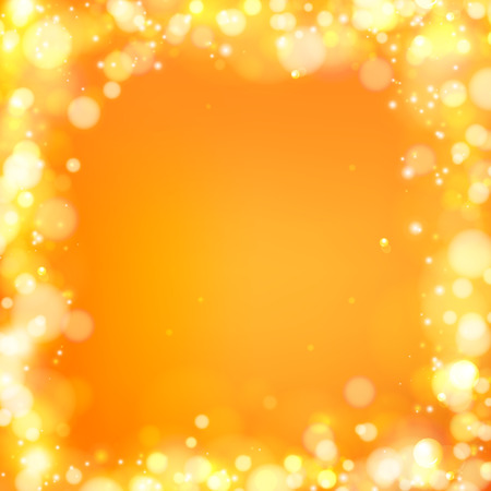 background orange: Soft bokeh and lights. Shiny sunburst of circle bokeh with the abstract sunshine light. Abstract vector background. Frame of bokeh blurs over orange background. Vector illustration.