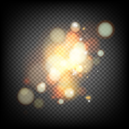 transparence: Soft bokeh and lights. Shiny sunburst of circle bokeh with the abstract sunshine light and transparency background. Abstract vector background. Gold template over black background with golden sparks. Illustration