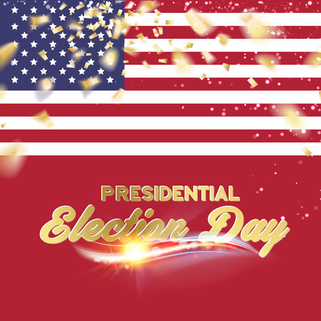 voting: Red white and blue flag with party confetti. Vector illustration.