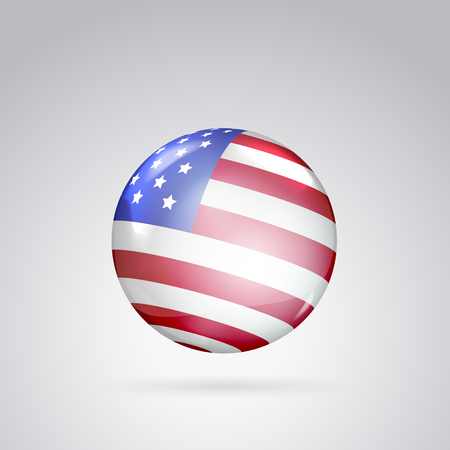 voting rights: Red, white and blue flag on ball surface. Sphere perl. Ball with flag of the USA. Vector illustration.