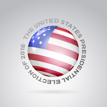 red sphere: Red, white and blue flag on ball surface. Sphere perl. Ball with flag of the USA. Illustration of a crystal sphere with American flag. Vector illustration.