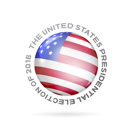 voting rights: Red, white and blue flag on ball surface. Sphere perl. Ball with flag of the USA. Flag of the United States in the form of ball with glare and shadows on white background. Vector illustration.