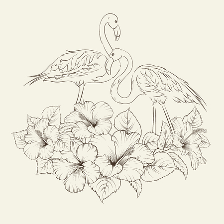 flower head: Bird sitting on a branch of hibiskus isolated on white background. Tropical exotic flowers with elegant flamingos birds over gray. Flamingo background design. Flamingo symbol of execution dreams.