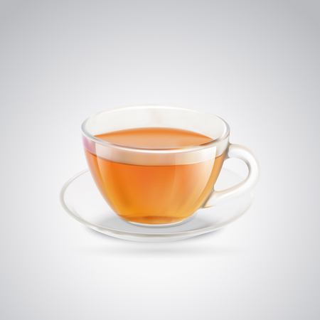 Black tea cup. Glass cup of black tea. Isolated on gray background. Vector illustration. Illustration