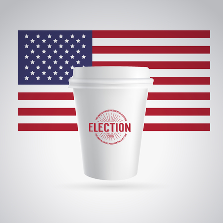 voting booth: Paper coffee cup icon on a gray background. Red, white and blue flag. White coffee cup. Cup with flag of the USA. Vector illustration. Illustration