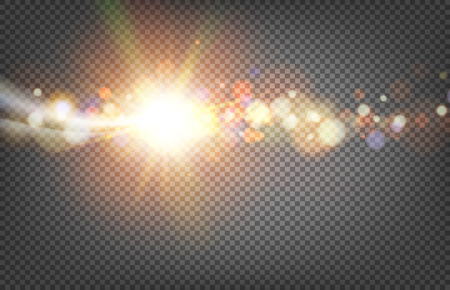 Lights on dark background with bokeh effect. Abstract vector background. Transparent backdrop. 向量圖像