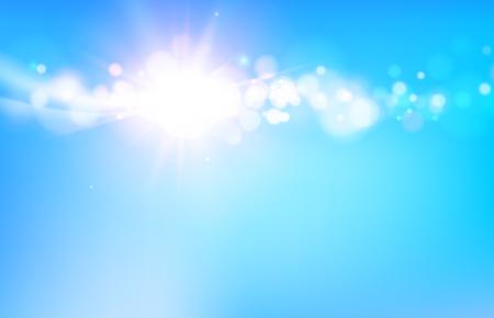 sky sun: Abstraction of blue bokeh background. Shiny bright light over blue sky. Vector illustration.