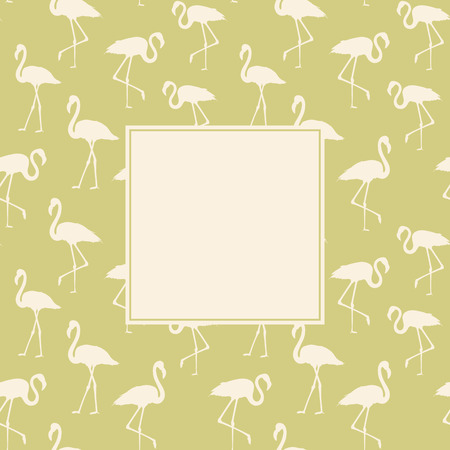execution: Tropical exotic background with white flamingos birds over green. Flamingo background design. Flamingo symbol of execution dreams. Background with flamingo pattern. Vector illustration.