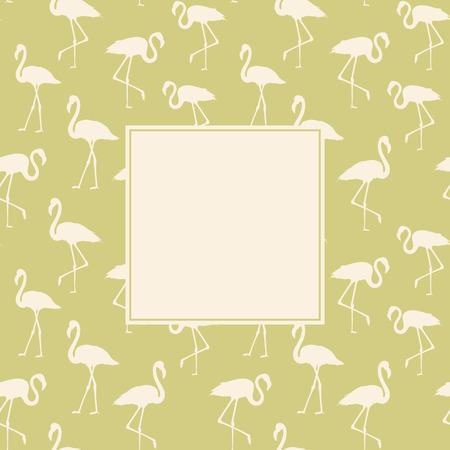 animal pattern: Tropical exotic background with white flamingos birds over green. Flamingo background design. Flamingo symbol of execution dreams. Background with flamingo pattern. Vector illustration.