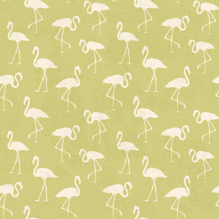 execution: Tropical exotic seamless pattern with white flamingos birds over green. Flamingo background design. Flamingo symbol of execution dreams. Seamless background with flamingo pattern. Vector illustration.