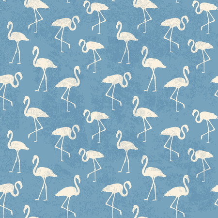 execution: Tropical exotic seamless pattern with white flamingos birds over blue. Flamingo background design. Flamingo symbol of execution dreams. Seamless background with flamingo pattern. Vector illustration.