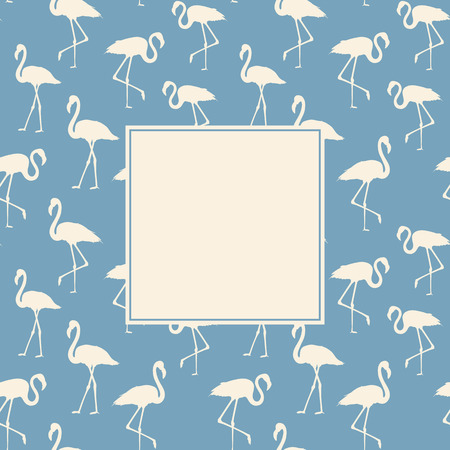 execution: Tropical exotic background with white flamingos birds over blue. Flamingo background design. Flamingo symbol of execution dreams. Background with flamingo pattern. Vector illustration. Illustration