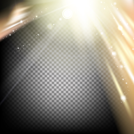 flare: Sun flash with rays and spotlight. Abstract sparkle flash on black background. Transparent sunlight special lens flare light effect. Vector illustration.