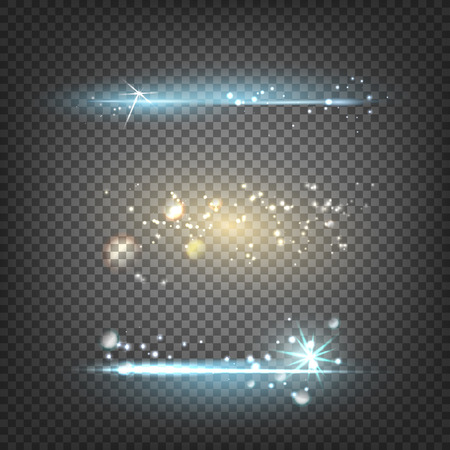 special effect: Transparent sunlight special lens flare light effect. Abstract background lighting flare special effect. Abstract dark background. Flash set, collection. Vector illustration.