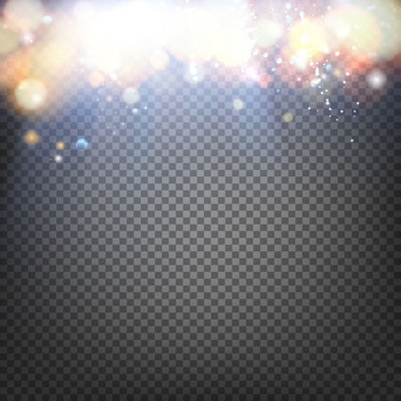 flare light: Sun flash with rays and spotlight. Transparent sunlight special lens flare light effect. Light bubbles flow down. Vector illustration.