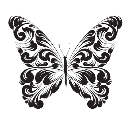 Butterfly of the ornament isolated on white background. decorative ornament. Stock Illustratie