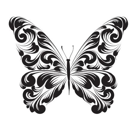 Vlinder van het ornament geïsoleerd op een witte achtergrond. decoratief ornament. Stock Illustratie