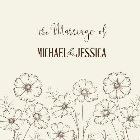 illustration invitation: Bridal Shower invitation with flowers over white paper. Vector illustration. Illustration