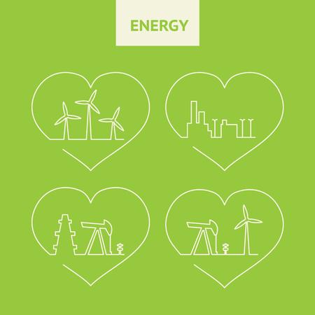 turbina de vapor: bomba de aceite de dise�o de gato silueta. Los generadores de viento en el fondo verde. horizonte de la gran ciudad. aceite de la ecolog�a de la producci�n. Ilustraci�n del vector.