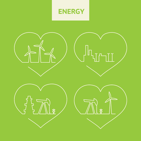 steam turbine: Oil pump jack silhouette design. Wind generators on the green background. Big city skyline. Production ecology oil. Vector illustration.