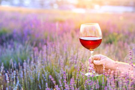 グラスを持つ手を閉じます。ラベンダー畑の前に赤ワインのガラスを保持している男。春の花のフィールドの上でピクニック。
