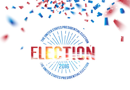 voting rights: Election day text. Blue and red confetti falls on the background. Election Day 2016. Elegant circle label. Vector illustration.