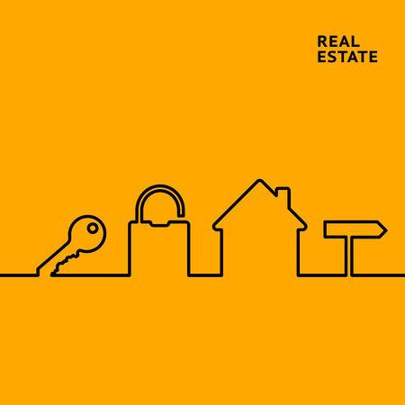 state: Estate line infographics for your design with key and lock elements over orange background. Vector illustration.