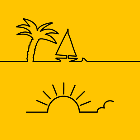 passion ecology: Heart vector illustration as line design element. Good weather and ecology. Palm tree and yacht on the orange background in line shape. Heart shaped sun. Be in love.