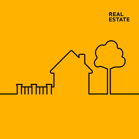 sign orange: House in flat style with tree and street sign on orange background. Linear design of private house. Black isolated line over orange background. Vector illustration.