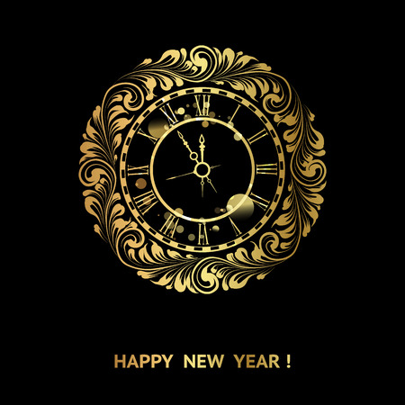 dial: Clock stamp over holiday dark background. Golden floral elements on the black background. Happy new year card over black background. Vector illustration.