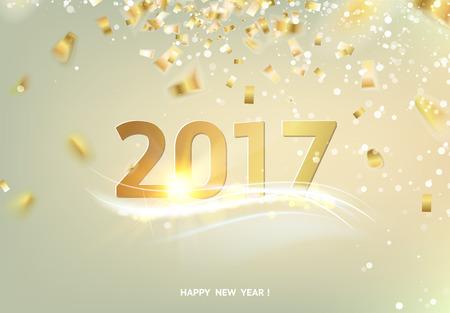 慶典: 新年快樂卡在灰色背景金光。金色紙屑落在背景。新年快樂2017節日賀卡。模板為您的設計。矢量插圖。