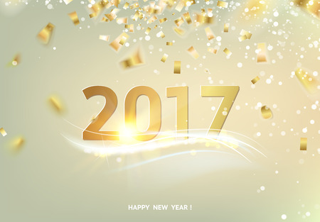celebrate: Happy new year card over gray background with golden sparks. Golden confetti falls on the background. Happy new year 2017. Holiday card. Template for your design. Vector illustration.