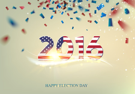voting rights: Inscription on election day. 2016 text in the style of the American flag colors. Over the text background falls cofetti of blue and red colors. The Independence Day at 2016.
