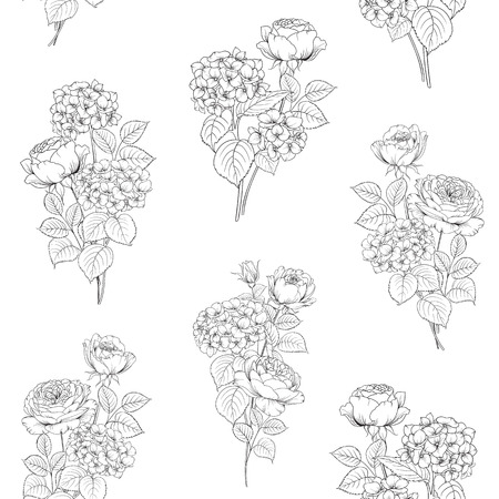 line drawing: Floral garland of blossom flowers at seamless pattern. Flower head of blossom flower. Floral elements tile. Pattern of flowers.