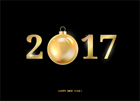 new year eve: Happy new year sign with 2017 on black background. Golden letters. Merry christmas. Vector illustration.