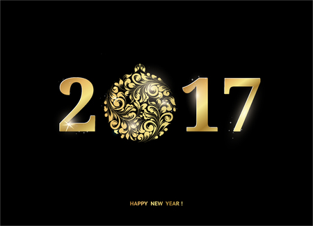 black and silver: Happy new year sign with 2017 on black background. Golden letters. Merry christmas. Vector illustration.