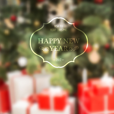 mistery: Happy New Year Holiday Card. The holiday text with vintage frame over blurred background. Christmas mistery design. Vector illustration.