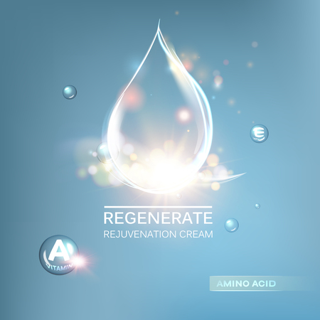 Regenerate cream and Vitamin Background. Concept Skin Care Cosmetic.