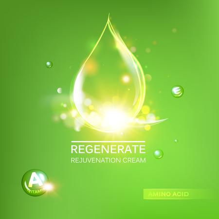 vial: Regenerate cream and Vitamin Background. Concept Skin Care Cosmetic.